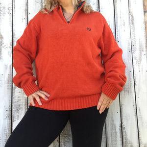 "Chaps Orange Knit 1/4""  Zip Collared Sweater  SZXL"